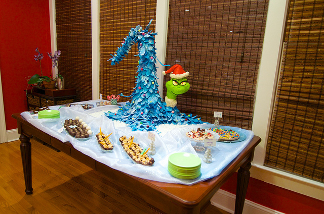 The Grinch Who Stole Christmas modeled in chocolate along with his funky Christmas Tree complete this dessert table.