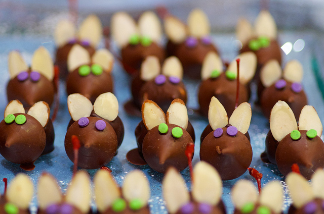 Chocolate-cherry mice make fun little desserts for a children's party.