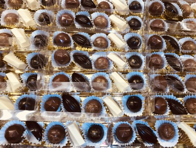 Dark, milk and white chocolates, also known as bonbons. We use European couverture to enrobe our delicate centers.